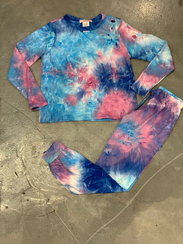 Tweenstyle - Blue/Pink Tie Dye Distressed Tee