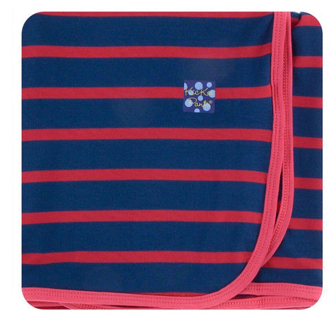 KICKEE PANTS PRINT SWADDLING BLANKET - EVERYDAY HEROES NAVY STRIPE EVERYDAY HEROES