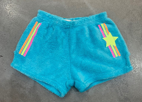 Made with Love and Kisses Turquoise Fuzzy Shorts