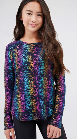 TEREZ Girls Long Sleeve Metallic Rainbow Shirt