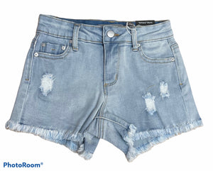 TRACTR GIRLS BRITTANY - DESTRUCTION FRAY HEM SHORTS - LIGHT WASH