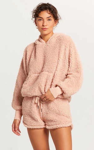 Olivaceous - Shearling Hooded Sweater - Blush