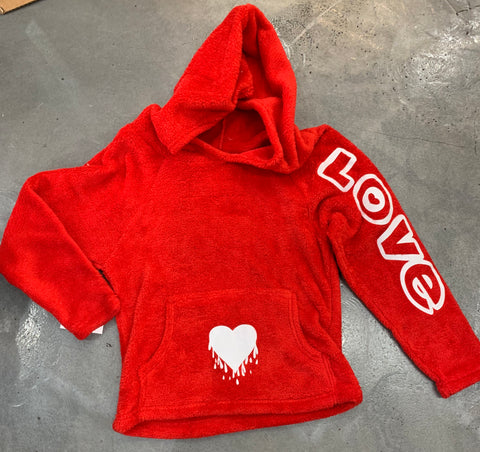 Made with Love and Kisses Fuzzy Hoodie, Drippy Heart