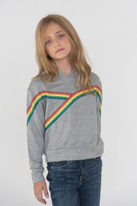 FLOWERS BY ZOE Girls Long Sleeve Top with Rainbow Stripe