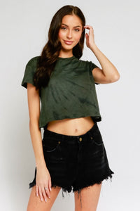 OLIVACEOUS Short Sleeve Cropped T Shirt