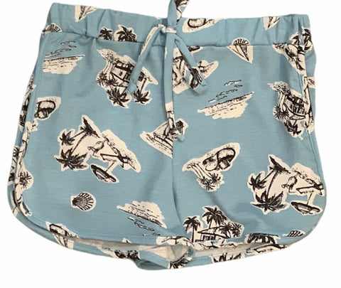 Tweenstyle - Blue Palm Tree Print Shorts