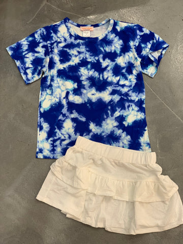 Tweenstyle Printed Tee, Bright Blue Tie Dye