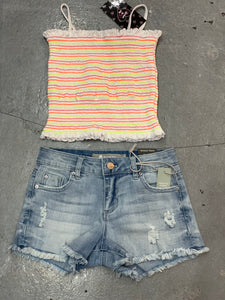 Tractr light Denim Distressed Shorts