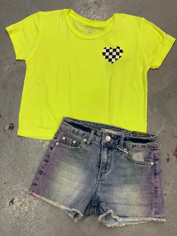 Tractr Neon Splash Denim Shorts
