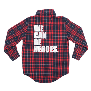 "ROCK YOUR BABY Boys "" We Can Be Heroes"" Long Sleeve Plaid Shirt"