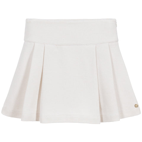 Lili Gaufrette Ivory & Gold Pleated Skirt