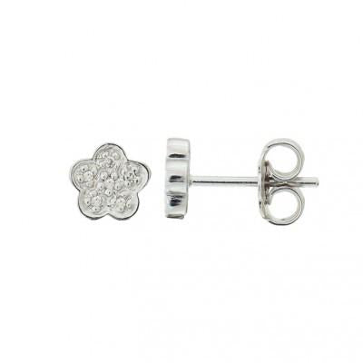 DIAMOND STERLING FLOWER STUD