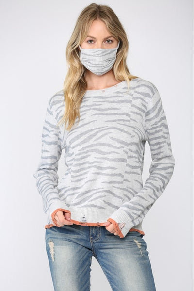 Fate - DISTRESSED ZEBRA SWEATER
