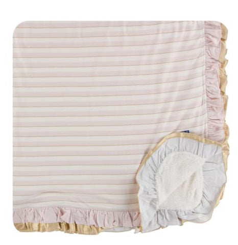 KicKee Pants Everyday Heroes Sweet Stripe Sherpa-Lined Double Ruffle Stroller Blanket