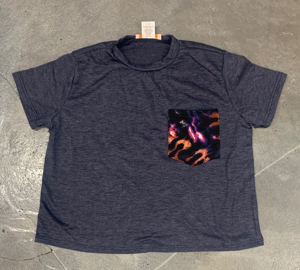 Tweenstyle - Navy Boxy Tee with Tie Dye Pocket