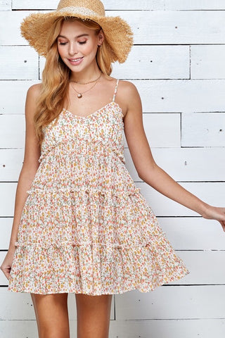 Junior Floral Print Tiered Dress