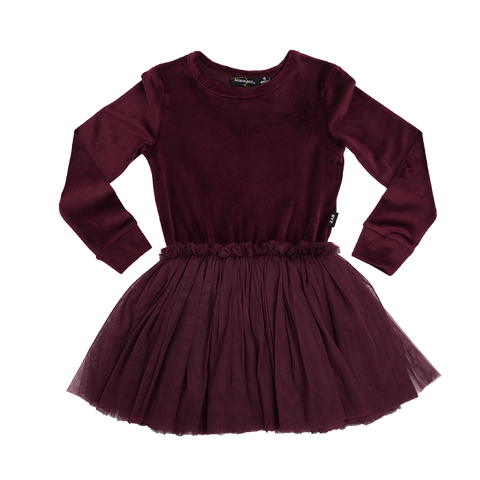 ROCK YOUR BABY Girls Long Sleeve Velour/Tulle Dress