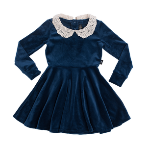 ROCK YOUR BABY Girls Long Sleeve Velour Dress with Collar