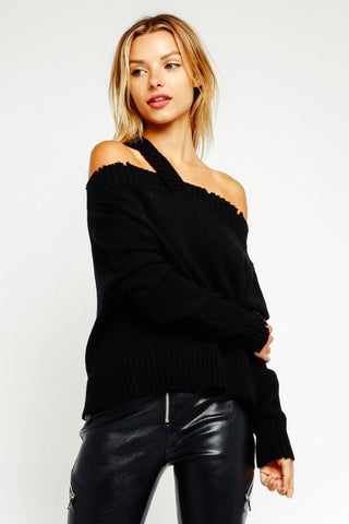 OLIVACEOUS Off The Shoulder Long Sleeve Sweater