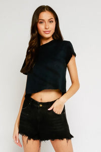 OLIVACEOUS Short Sleeve Crop Top