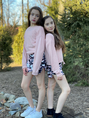 Tweenstyle - Shorts -  Blush Pink Camo