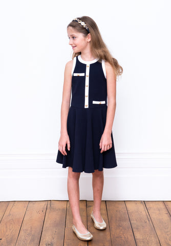 David Charles Navy and White Party Dress