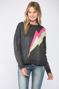 Fate - LIGHTNING BOLT DISTRESSED SWEATER