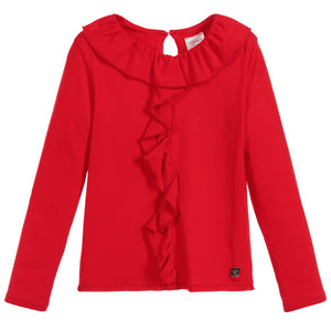 CARREMENT BEAU Girls Long Sleeve Ruffle Top