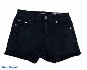 TRACTR GIRLS FRAY HEM DESTRUCTED SHORTS - Black