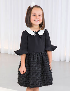 ABEL & LULA Girls 3/4 Sleeve Black Dress with Ivory Collar