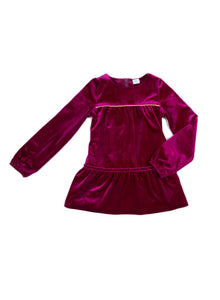EGG BABY Girls Lyla Velvet Raspberry Dress