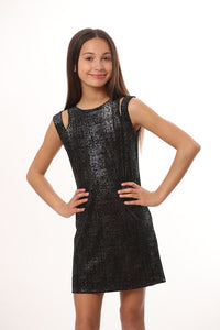 LES TOUT PETIT Girls Sleeveless Black Dress