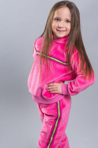 SPARKLE BY STOOPHER Girls Pink Velvet Tracksuit