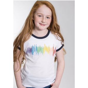 SPARKLE BY STOOPHER Rainbow Scribble Print Navy Foil Ringer T