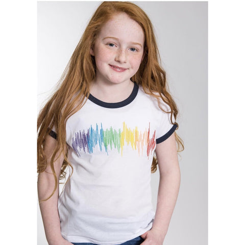 SPARKLE BY STOOPHER Rainbow Scribble Print Navy Ringer T
