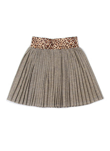 EGG BABY Margaret Pleated Gold Skirt with Leopard Waist Band