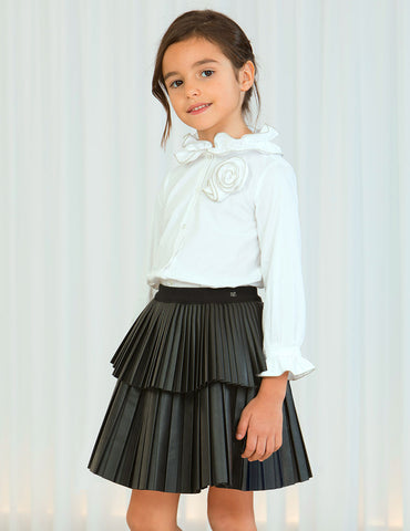 ABEL & LULA Girls Black Faux Leather Pleated Skirt