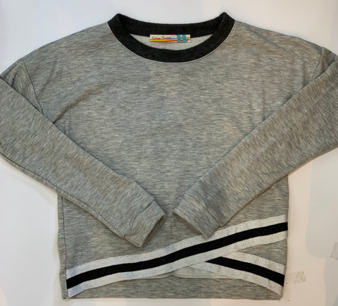 VINTAGE HAVANA Girls Long Sleeve Grey Striped Top