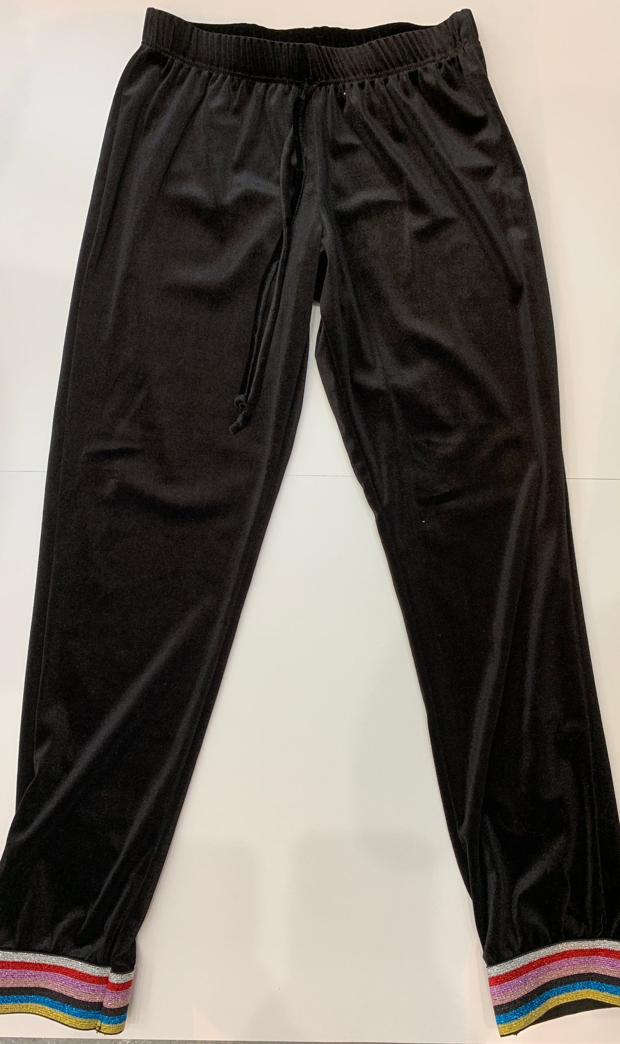 VINTAGE HAVANA Girls Black Velvet Pants with Rainbow Striped Cuffs