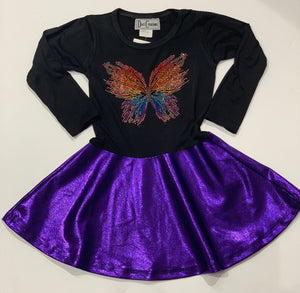 DORI CREATIONS Girls Purple Dress with Butterfly