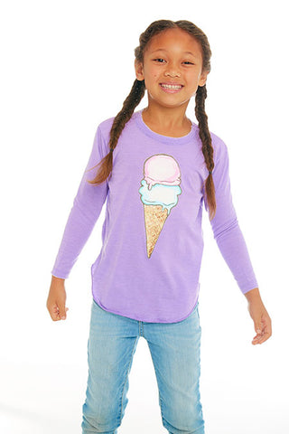CHASER Girls Ice Cream Cone Long Sleeve Tee