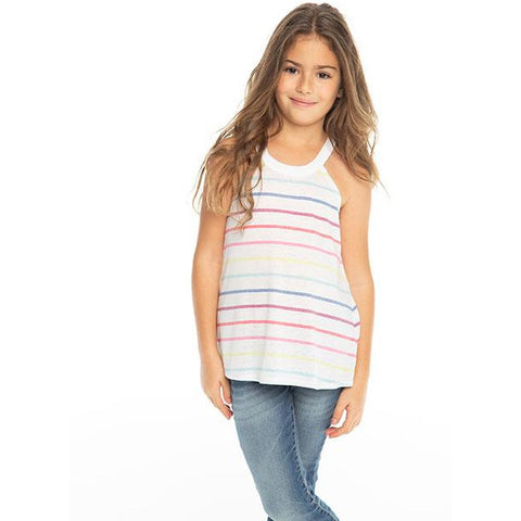 CHASER Girls' Rainbow Stripe Sleeveless Tank