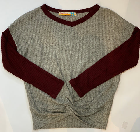 VINTAGE HAVANA Girls Long Sleeve Thermal Top W/ Knot Front
