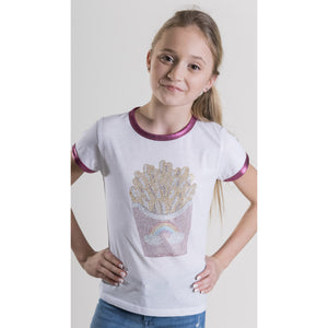SPARKLE BY STOOPHER Fancy Fries Pink Foil Ringer Tee