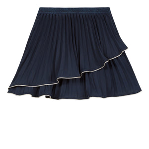 LILI GAUFRETTE Navy Blue Pleated Skirt