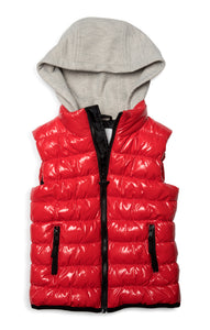 APPAMAN Boys Red Puffer Vest with Hood