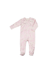 EGG BABY Girls Zipper Footie with Metallic Hearts