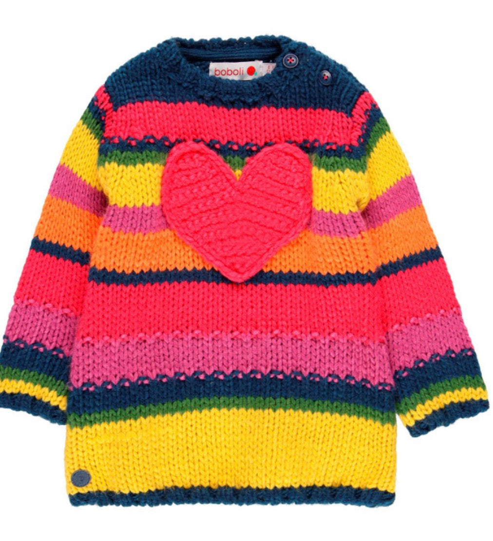 BOBOLI Girls Rainbow Knit Dress