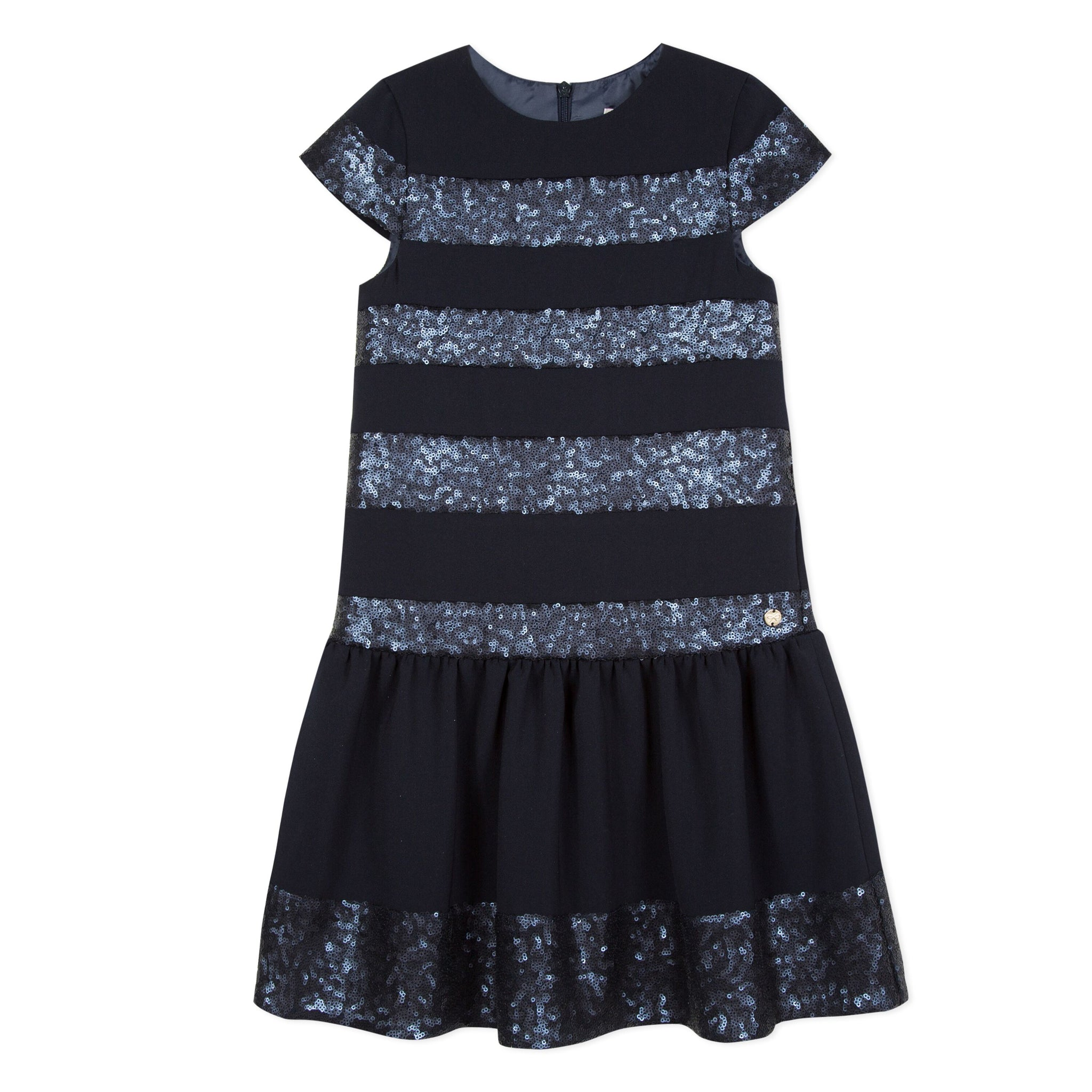 LILI GAUFRETTE Girls Navy Blue Sequin Dress