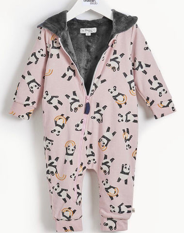 BONNIEMOB Baby Play Panda Print Playsuit with Faux Fur Lining